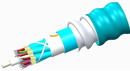 Внутренний оптический кабель, кол-во волокон: 6, Тип волокна: OM3 LazrSPEED® 300 буфер 900мк, бронирование: алюминиевая лента, изоляция: LSZH Riser, EuroClass: B2ca, диаметр: 12,8 мм, -20 - +70 град., цвет: бирюзовый