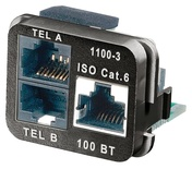 Адаптерная вставка AMP CO™ Plus 3xRJ45 Cat.6 (две телефонные линии + Fast Ethernet), Цвет: чёрный (RAL 9005)