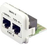 Двойная адаптерная вставка AMP CO™ Plus Cat.5E, Тип вставки: 2xRJ45 (1хFastEthernet / 1хISDN), Цвет: белый (RAL 9010)