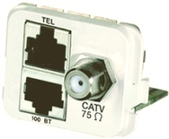 Адаптерная вставка AMP CO™ Plus F-коннектор + 2xRJ45, 1хCATV/1хFastEthernet/1хISDN, Цвет: миндальный (RAL 9013)
