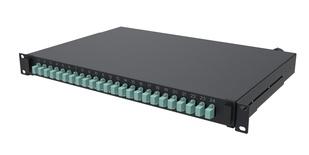 Выдвижная коммутационная панель 24xLC/UPC Duplex бирюзового цвета, Глубина: 300 мм, цвет: чёрный