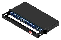 Коммутационная панель 40xLC Duplex/10xMPO-8(m) OS2 Method B Enhanced с фронтальным кабельным органайзером, высота: 1RU, цвет: чёрный