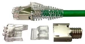 MP-6S-A-1: Экранированная модульная вилка RJ45 8-поз./8-конт. Cat.6; для круглого кабеля D=4,7-5,5, d=0,89-1,09, AWG:26-23; уп.: 100шт.
