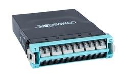 Модуль G2 ULL 12LC Duplex/2xMPO12(f) OM4, Method B Enhanced, шторки: да, цвет: бирюзовый