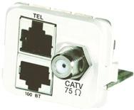 Адаптерная вставка AMP CO™ Plus F-коннектор + 2xRJ45, 1хCATV/1хFastEthernet/1хISDN, Цвет: белый (RAL 9010)