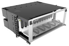 Выдвижная коммутационная панель Systimax High Density 4RU, для установки до 16 пигтейл-кассет 360 G2, с фронтальным кабельным органайзером, до 192 сварных сплайсов при использовании Splice Wallet® или 128 сварных сплайсов при использовании RoloSplice®