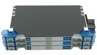 Шасси FACT™ Splice-Patch 144xLC/UPC SM и C-grade пигтейлы, поддон для гильз SMOUV организация кабеля: right-hand patch, цвет: серый, высота: 3E=2.1RU