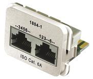 Адаптерная вставка AMP CO™ Plus 2xRJ45 (1хFastEthernet / 1хISDN) Cat6a, цвет: миндальный (RAL 9013)