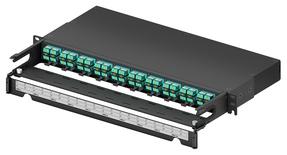 Коммутационная панель 40xLC Duplex/10xMPO-8(m) OM4 Method B Enhanced с фронтальным кабельным органайзером, высота: 1RU, цвет: чёрный
