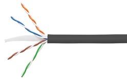Кабель 4-парный U/UTP Cat.6, 24 AWG, оболочка: LSZH, EuroClass Dca, диаметр: 5,72, NVP 71%, -20-+60 грд, цвет: чёрный, уп.:  коробка 305 м